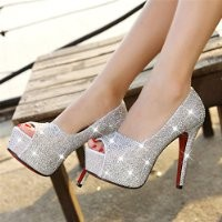 MagicPeices Rhinestone Peep Toe High Heel Platform Party Heeled Shoes 042405 FDP 0705 Size US 5.5