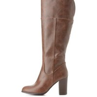 Chunky Heel Riding Boots by Charlotte Russe