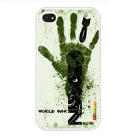 2013 World War Z Fashion Design Hard Case Cover Skin Protector for Iphone 4 4s Iphone4 At & T Sprint Verizon Retail Packing (White Pc + Pearlescent Aluminum) Fs-00264