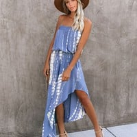 PREORDER - Marine Strapless Tie Dye Asymmetrical Dress