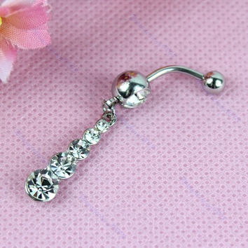 New Charming Dangle Crystal Navel Belly Ring Bling Barbell Button Ring Piercing Body Jewelry = 4804914564