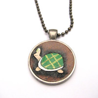 Turtle Necklace Pendant Hand Carved Leather Jewelry Turtle Jewelry  Gamer Gift  Gamer  Necklace
