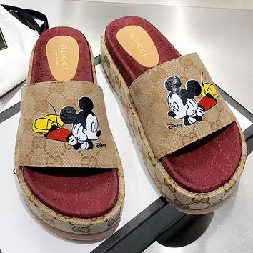 GUCCI & Disney New fashion mouse more letter print shoes slippers flip flop