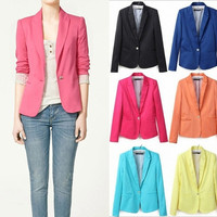Asian Size Fashion Women's Candy Color Turn-Down Collar Blazers OL Slim Suits HB035
