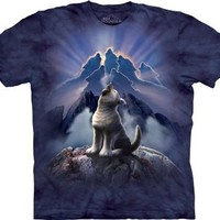 The Mountain Leader of the Pack Wolf Men's Blue T-shirt