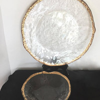 1950's IVV Industria Vetraria Valdarnese Glacier Platter and Bowl 10K Gold Trim OR Spiral Platter and Bowl
