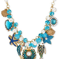 Betsey Johnson Necklace, Gold-Tone Sea Shell and Fish Multi-Charm Frontal Necklace - All Fashion Jewelry - Jewelry & Watches - Macy's