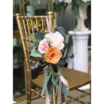 Aisle Marker Pew Chair Lantern Flower - Blush Pink orange with greenery rustic quality flowers