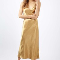 Two Strap Satin Midi Dress