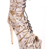 Natural Strappy Peep Toe Ankle High Heel Fall Booties Snake