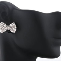 2 Pairs of Silvertone with Clear Iced Out Mini Style Bow Stud Earrings