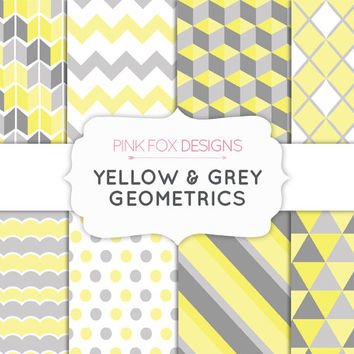 Yellow and Grey Gray Geometrics Digital Paper Spring Paper Gold Silver Digital Triangles Scrapbook Paper Stripes Polka Dots Craft paper