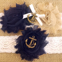 Marine / Navy Wedding Garter w/ Anchor Blue and Gold - Marine Military Garter Set, military wedding garter, Nautical wedding, lace garter