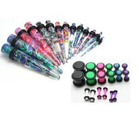 36pc Ear Stretching Kit Color Neon Plugs and Color Tapers Plus Instructions