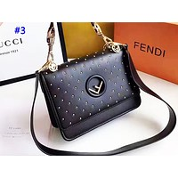 FENDI fashion hot seller casual lady pure color rivet postman bag #3