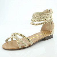 Beige       Braided         Sandal with Zip Up Back