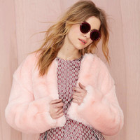 Pink Cropped Faux Fur Coat