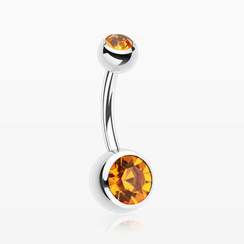 Double Gem Ball Steel Belly Button Ring