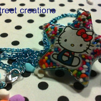 Hello Kitty Candy Sprinkles Resin Star Pendant Necklace