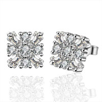Jewelry Women's silver plated square crystal stud earings Bijoux Earrings For Wedding 577