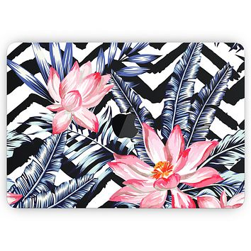 """Vivid Tropical Chevron Floral v1 - Skin Decal Wrap Kit Compatible with the Apple MacBook Pro, Pro with Touch Bar or Air (11"""", 12"""", 13"""", 15"""" & 16"""" - All Versions Available)"""