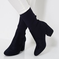 Sock Fit Block Heel Ankle Boots