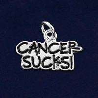Sterling Silver Plated Cancer Sucks Charm