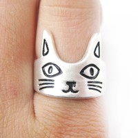Kitty Cat Shaped Simple Animal Ring in Silver Size 6 | Animal Jewelry