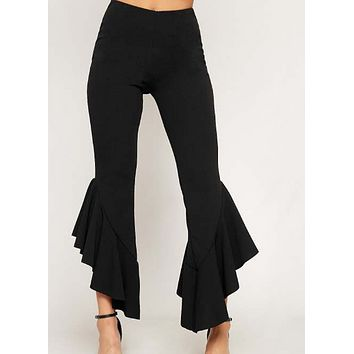 New fashion autumn and winter women's slim fit ruffle casual trousers