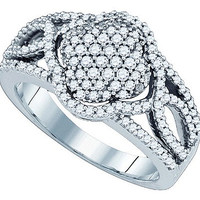 Diamond Invisible Set Fashion Ring in 10k White Gold 0.68 ctw
