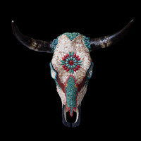 Southwestern Native American Style Mosaic Wall Decor Cow Skull with Mother of Pearl and Arizona Turquoise