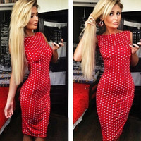 New Fashion Women Polka Dot Dress Sleeveless Halter Pencil Dress Red = 1946611460