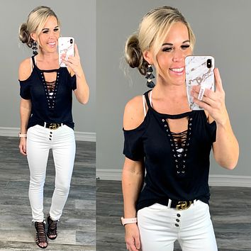 Not too Complicated Cold Shoulder Top: Black