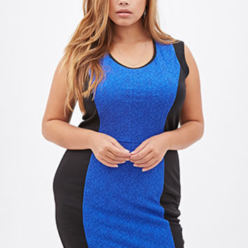 FOREVER 21 PLUS Colorblocked Bodycon Dress Black/Royal