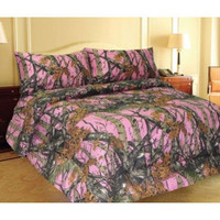 PINK WOODS CAMO COMFORTER AND SHEET SET!! 7 PC BED IN BAG CAMOUFLAGE T/F/Q/K