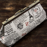 Paris Travel Journal Clutch, Cream Clutch Purse with Retro Print, Unique Evening Bag by WhiteCross Designs, Ready to Ship from USA