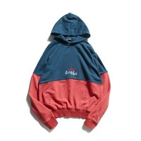 Pullover Hoodies Patchwork Tops Autumn Ripped Holes Hats [10847217731]