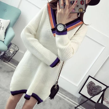 Fashion Multicolor V-Neck Long Sleeve Top Sweater Pullover