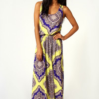 Rosie Neon Paisley Twist Back Maxi Dress