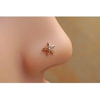 Starfish Rose Gold Nose Ring Nose Stud L Bend