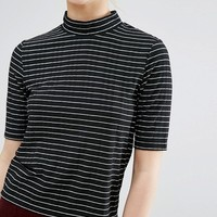 Monki High Neck Ribbed Stripe Top at asos.com
