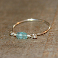 Gemstone Ring Wire Wrapped Ring, Light Blue Ring, Aquamarine Gemstone Ring, Aquamarine Sterling Silver Ring, Aquamarine 14k Gold Filled Ring