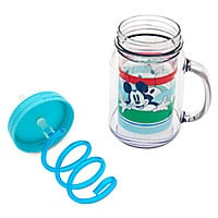 Mickey Mouse Small Jelly Jar with Straw - Summer Fun