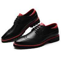 Men's Leather Brogues Dress Shoes Oxford Spring British Carved Leisure Flats Men Pointed Toe Multicolor Oxford Male Casual Shoes