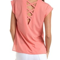 Studded Cage-Back Hi-Low Tee: Charlotte Russe