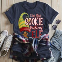Women's Funny Elf T Shirt Cookie Baking  Matching Christmas Shirts Graphic Tee Watercolor