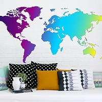 "Map Of The World Silhouette Wall Decal Map Removable Multicolored Full Color Vinyl Sticker Decoration Decals Bedroom Decor Interior EN24 (18"" Tall x 35"" Wide)"