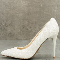 Clair Ivory Satin Beaded Pumps