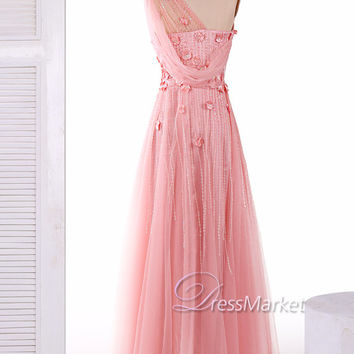 Long one shoulder beading and applique pink prom dress,Pink long sweetheart tulle party dress,Pink evening dress,DressMarket117