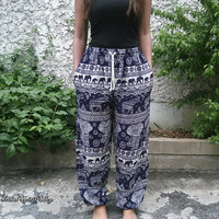 Elephants Yoga Pants Baggy Boho Hobo Style Printed Hippie Gypsy Aladdin Clothing Beach Clothes Summer Hipster Plus Size Comfy Dark Blue